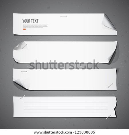 White paper Long collections, vector illustration