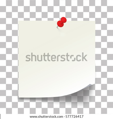 White paper note with the red button, ready for your message - Stock Vector.