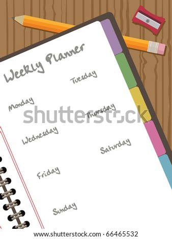 white paper notebook with clipping mask, with pencil and weekly planner, vector illustration