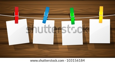 White paper on a clothesline. Vector illustration.