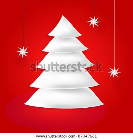 White paper origami fir tree and snowfall with shadow and glow on red background. This vector illustration created in the technique of wire mesh