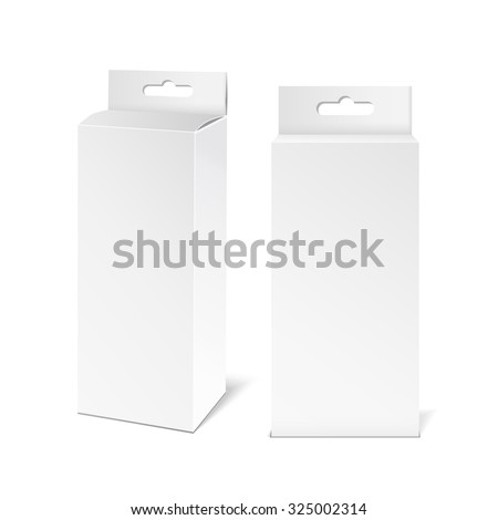 White paper packaging box with hanging hole. Packaging Product