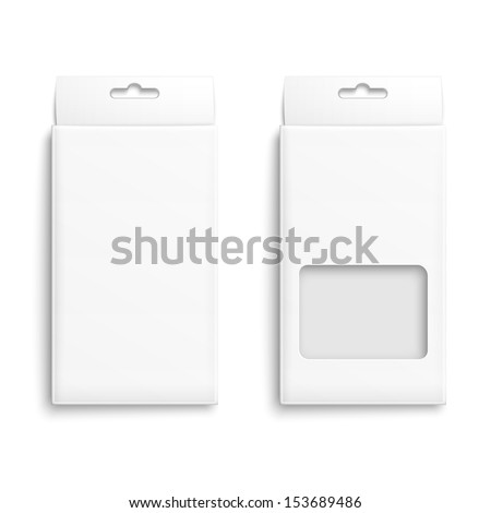 White paper packaging box with hanging hole Product packaging collection Ready for your design Vector illustration EPS10