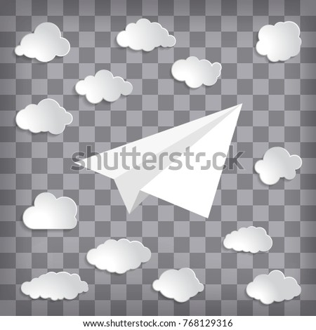 white paper plane with clouds