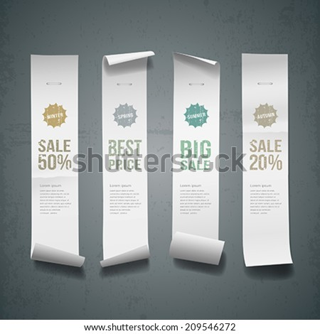 White paper roll long size vertical for sale design background vector illustration