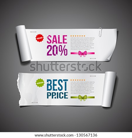 White paper roll ripped long collections design for business, vector illustration
