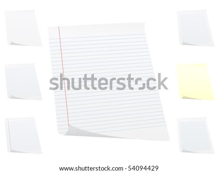 White paper sheet isolated on white background. Vector illustration