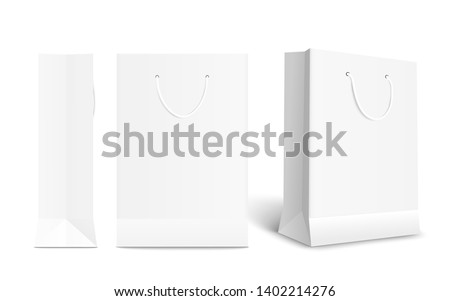 White paper shopping bag set with different angles. Front and side view of retail purchase packaging - blank mockup with empty space and rope handle, isolated realistic vector illustration