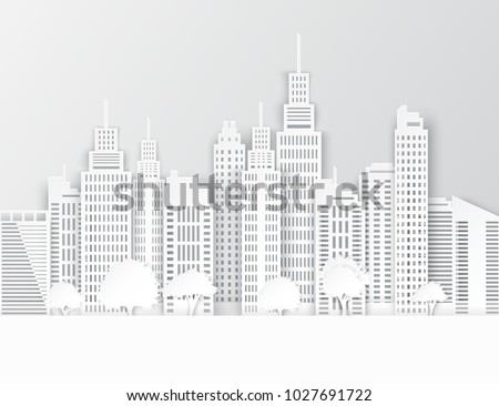White paper skyscrapers and trees. Achitectural building in panoramic view. Modern city skyline building industrial paper art landscape skyscraper offices. Vector Illustration