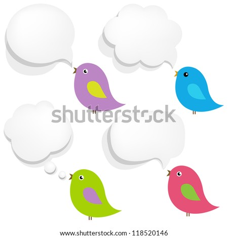 White Paper Speech Bubble And Birds With Gradient Mesh, Vector Illustration