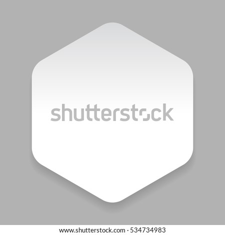 White paper sticker hexagon vector