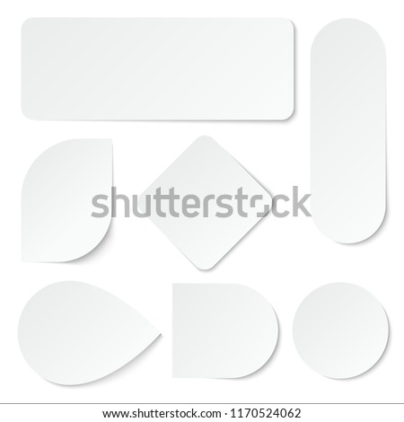 White paper stickers. Blank labels, tags in rectangular and round shape. Isolated vector set. Advertisement note paper, tag sticker illustration #1170524062