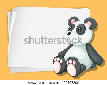 White paper template with a panda cartoon