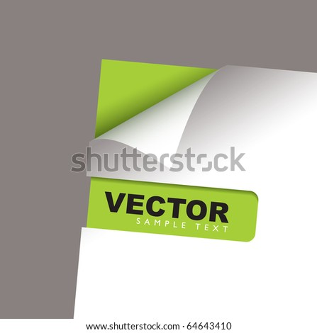White paper with green card and corner peel shadow