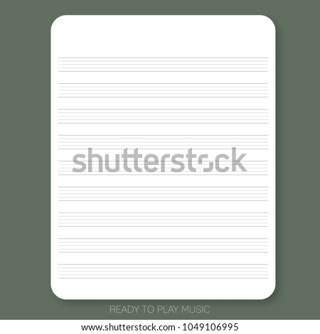 White paper with stave or staff on the olive green background is ready to use or print for people who would like to write a song, compare a song or create music sheet.