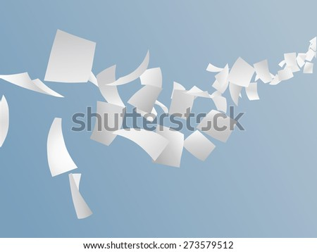 white papers flying on sky