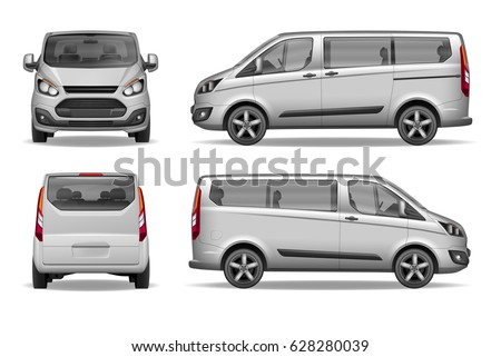 White passenger family car. Realistic van front, back and side view. Car Mockup for Advertising and Corporate identity. Vector illustration of silver passenger mini van.