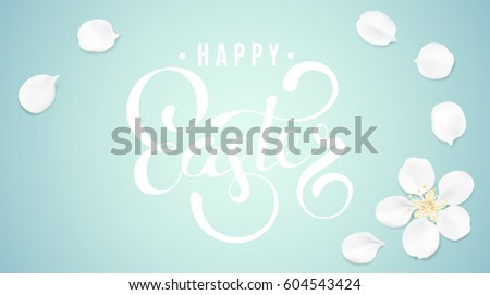 White pastel background with spring flower petalsand Happy Easter text. Cherry blossom petals illustration greeting card