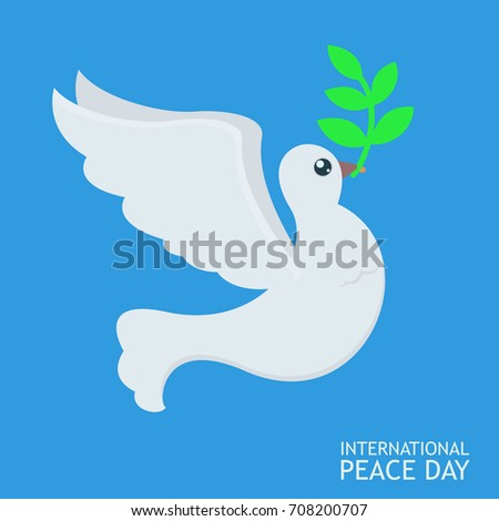 White Peace dove with olive branch for International Peace Day poster on blue sky abckground