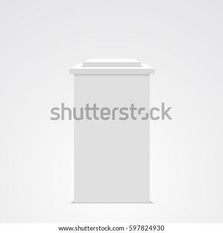 White pedestal. Vector illustration.