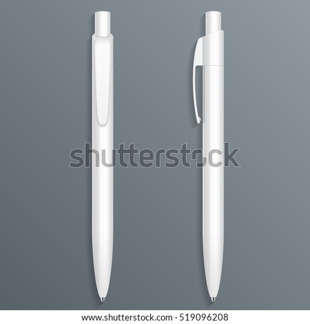 White Pen, Pencil, Marker Set Of Corporate Identity And Branding Stationery Templates. Illustration Isolated On Gray Background. Mock Up Template Ready For Your Design. Vector