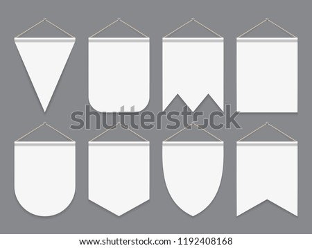 White pennant. Hanging empty fabric flags. Advertising canvas outdoor banners. Pennants vector mockup. Illustration of banner pennant collection for advertising Stockfoto ©