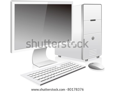 White personal computer and monitor vector