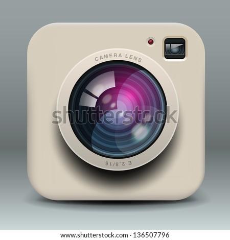 White photo camera icon, vector illustration.