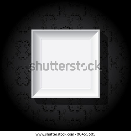 White photo frame on a black wall - stock vector