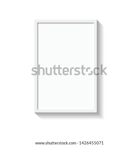 White photo frame. Picture frame for photographs. Isolated picture frame mockup template on white background