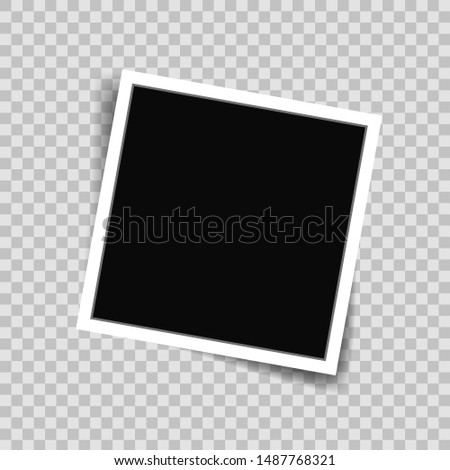 White photo frame picture in mockup style. Photo frame template on transparent background for photograph, scrapbook, memories. Paper border blank with emty place. vector illustration eps10