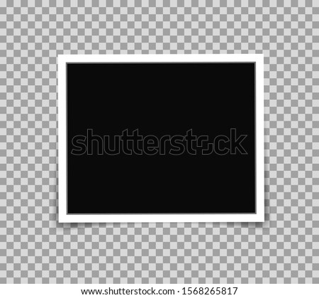White photo frame picture in mockup style. Photo frame template on transparent background for photograph, scrapbook, memories. Template paper photo picture with emty place. vector illustration eps10