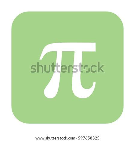 White Pi icon vector. Green button #597658325