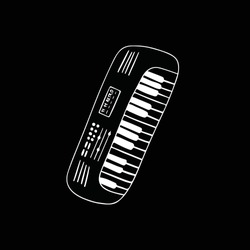 White piano musical instrument isolated on black background.  Keyboard hand drawn illustration. Synthesizer acoustic audio classical chord. Jazz concert melody. Harmony vector outline line art.