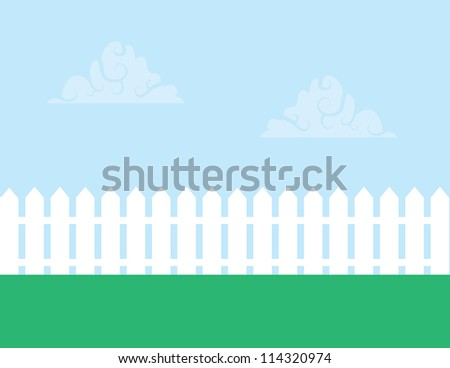 white picket fence with cloudy