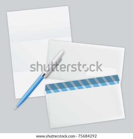 white piece of paper and two envelope vector eps 10
