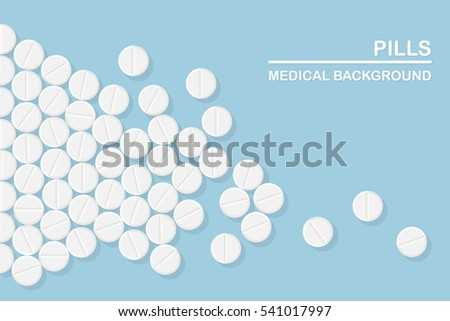 White pill and tablets, medicine isolated. Heap of capsules, drug. Healthcare. Medical background. Flat vector illustration