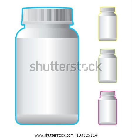 White Pill Blank Bottle Vector.