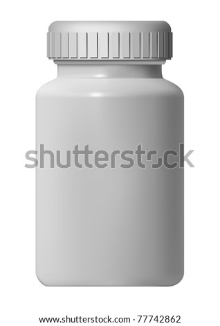 White Pill Blank Bottle Vector Illustration - stock vector