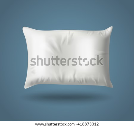 White Pillow on Blue Background with Real Shadow. Top View of a Soft Colorful Pillow with Copy Space for Tex or Image. Vector illustration EPS10