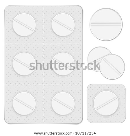 White pills, vector eps10 illustration
