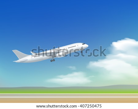 white plane off the ground take