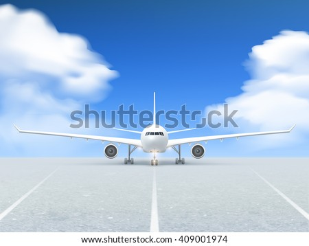 white plane prepares to take