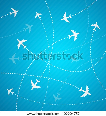 White planes on blue background with stripes, design for airports and travel agencies, vector illustration