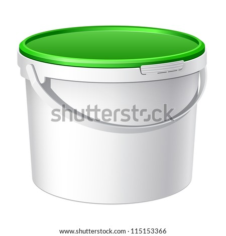 White plastic bucket with green lid. Product Packing For paints, adhesives, sealants, primers, putty. Vector
