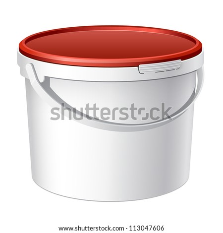 White plastic bucket with red lid. Product Packing For paints, adhesives, sealants, primers, putty. Vector