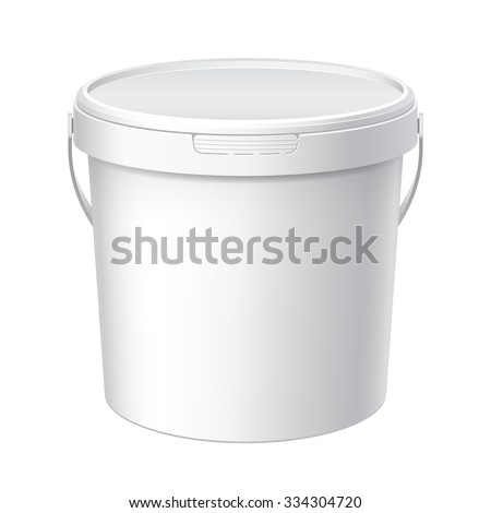 white plastic bucket with white