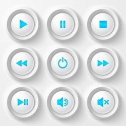 White plastic navigation buttons player set with blue symbols