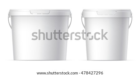 Shutterstock White plastic set bucket with White lid. Product Packaging For food, foodstuff or paints, adhesives, sealants, primers, putty. MockUp Template For Your Design. Vector illustration.