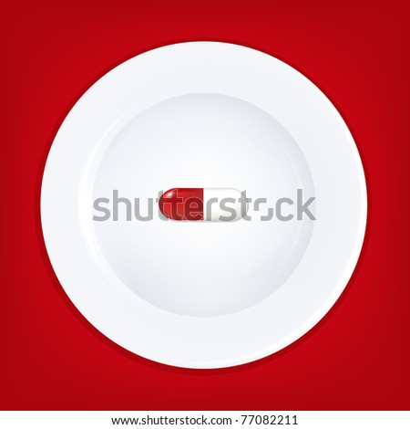 White Plate And Pill, Vector Illustration